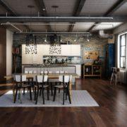Tường để trần, sàn thô ráp và cửa sổ kính lớn là các yếu tố đặc trưng trong phong cách thiết kế nội thất công nghiệp.